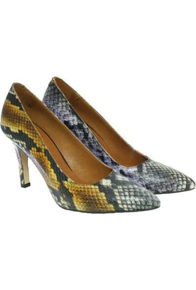Kadsu Design Hakiki Deri Üzerine Mor Yılan Desenli Topuklu Kadın Ayakkabı