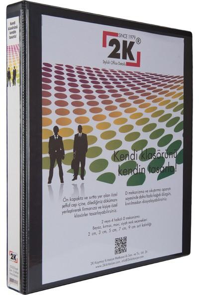 2K 3 cm 4 Halkalı Iç Dış Şeffaf Cepli Firma Sunum ve Evrak Klasörü 250 Yaprak