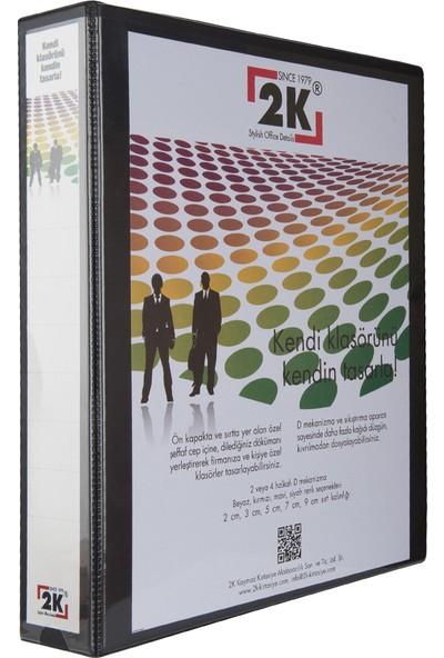 2K 5 cm 2 Halkalı Iç Dış Şeffaf Cepli Firma Sunum ve Evrak Klasörü 350 Yaprak