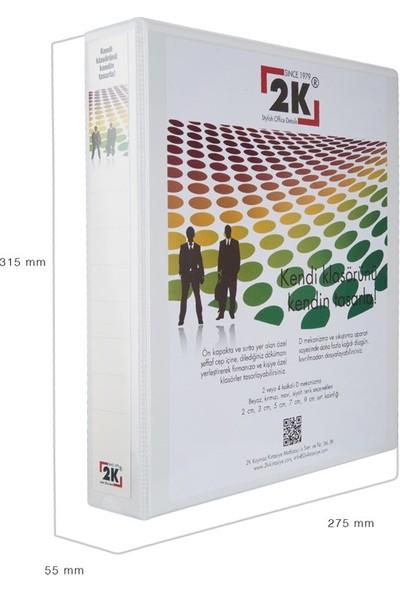 2K 5 cm 4 Halkalı Iç Dış Şeffaf Cepli Firma Sunum ve Evrak Klasörü 350 Yaprak