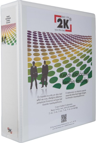 2K 7 cm 2 Halkalı Iç Dış Şeffaf Cepli Firma Sunum ve Evrak Klasörü 520 Yaprak