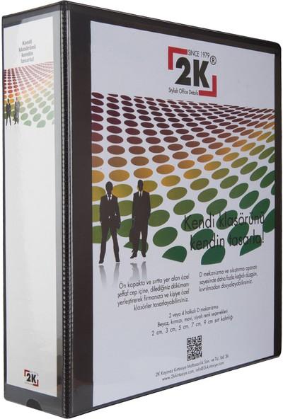 2K 7 cm 4 Halkalı Iç Dış Şeffaf Cepli Firma Sunum ve Evrak Klasörü 520 Yaprak