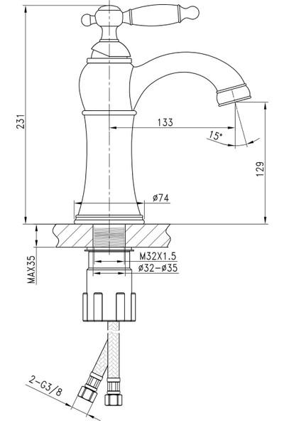 Fontana FM-1413 Rose Lavabo Bataryası