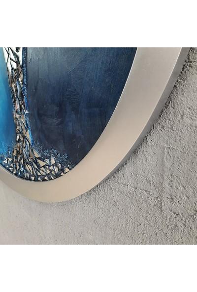 Atl Dekor Luna Mavi Yuvarlak Ayna Ağaç 90 cm