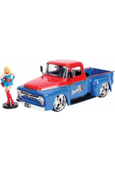 Simba Ford F-100 Pick Up 1956 Model ile Supergirl Dc Comics 1:24 Model Araba