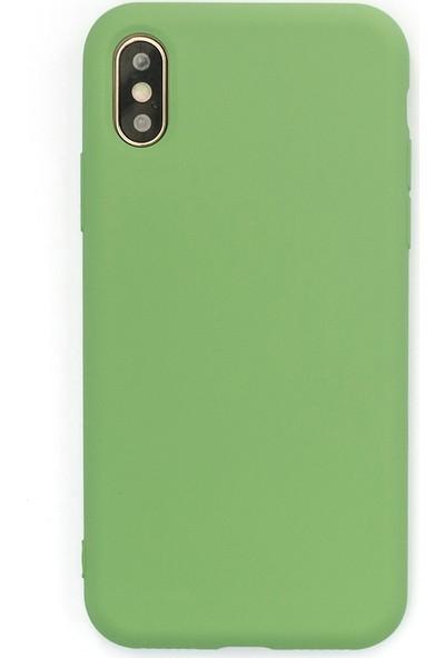 Case Markt Apple iPhone XS Max Lansman Silikon Telefon Kılıfı Mikro Fiber Iç Yüzey Yeşil