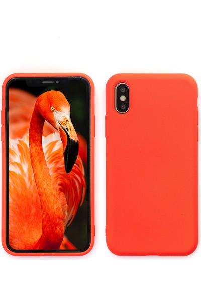 Case Markt Apple iPhone XS Max Lansman Silikon Telefon Kılıfı Mikro Fiber Iç Yüzey Mercan