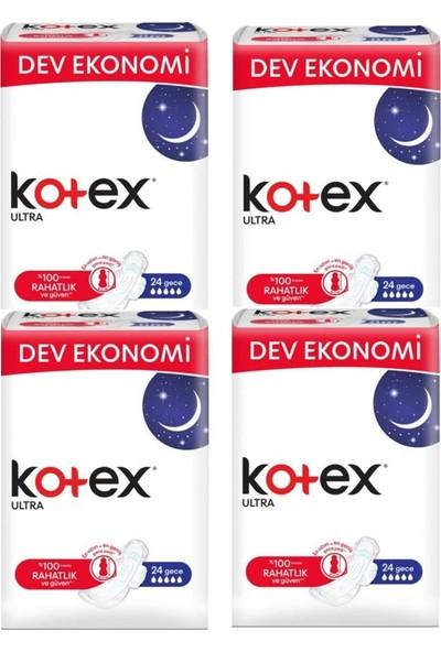Kotex Ultra Gece Hijyenik Ped 24 Adet- 4'lü