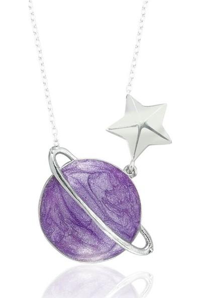 Dalman Silver Mor Mineli Satürn Gümüş Kolye