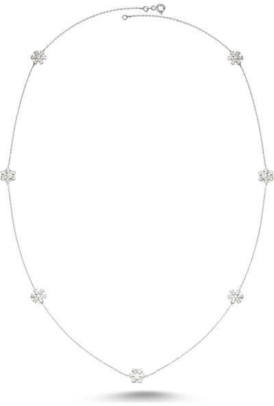 Dalman Silver Kar Tanesi Ara Parçalı Uzun Zincirli Gümüş Kolye