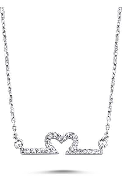 Dalman Silver Kalpli Plaka Taşlı Gümüş Kolye