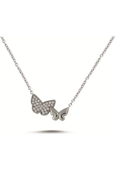 Dalman Silver Taşlı Ikili Kelebek Gümüş Kolye
