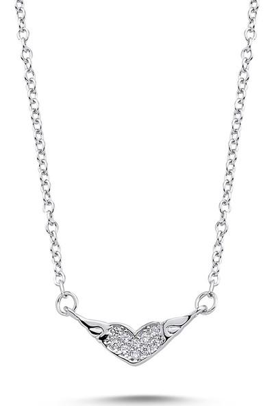 Dalman Si̇lver Kanatlı Kalpli Taşlı Gümüş Kolye
