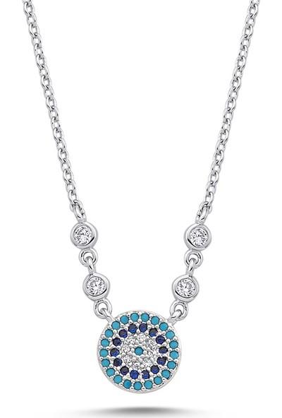 Dalman Si̇lver Nazar Boncuklu Renkli Taşlı Gümüş Kolye