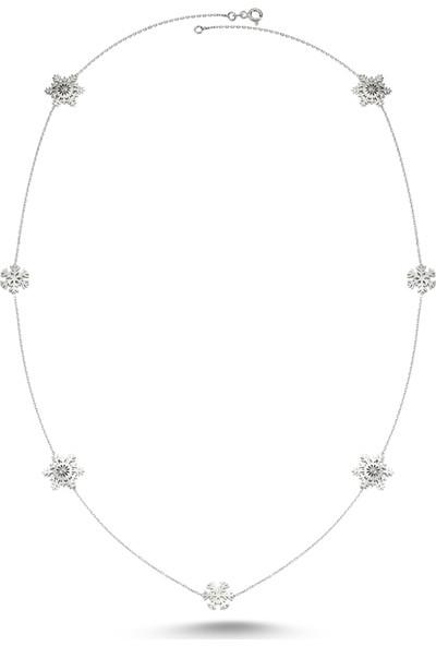 Dalman Si̇lver Kar Tanesi Ara Parçalı Uzun Zincirli Gümüş Kolye