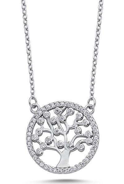Dalman Si̇lver Hayat Ağacı Taşlı Gümüş Kolye