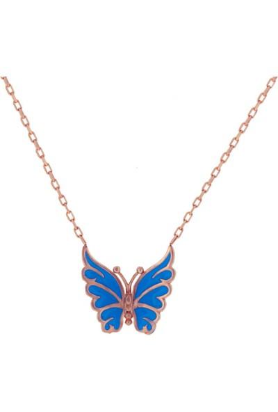 Dalman Si̇lver Açık Mavi Kelebek Kolye