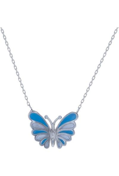 Dalman Si̇lver Mavilii Beyazlı Kelebek Kolye