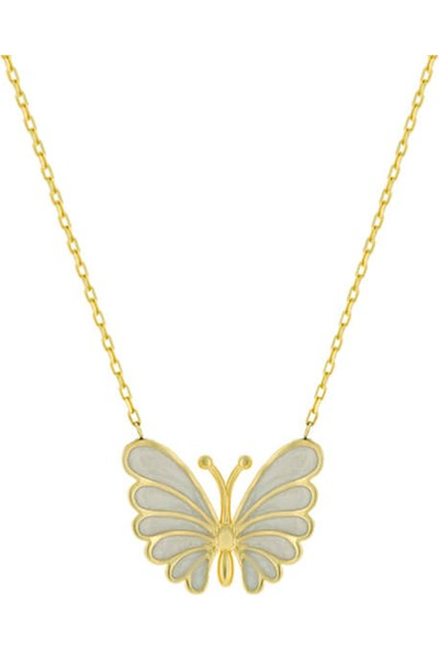 Dalman Si̇lver Beyaz Kelebek Kolye