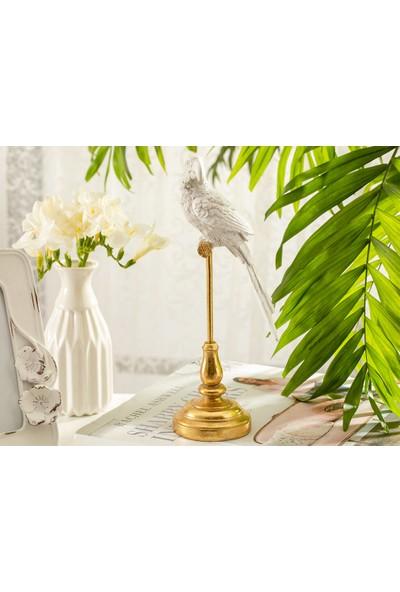 English Home Parrot Paradise Polyresin Dekoratif Obje 10,5x10,5x24,6 Cm Beyaz