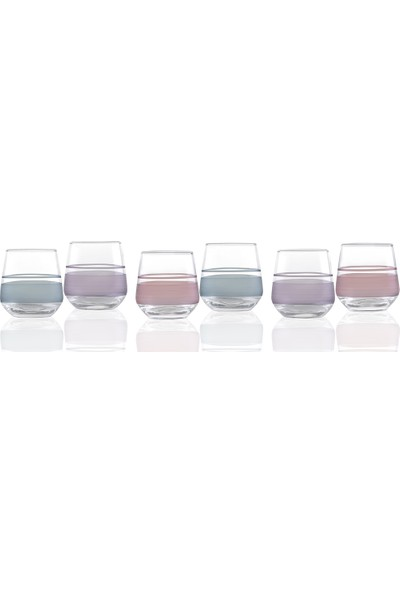 English Home Band Cam 6'lı Kahve Yanı Su Bardağı 115 Ml Renkli