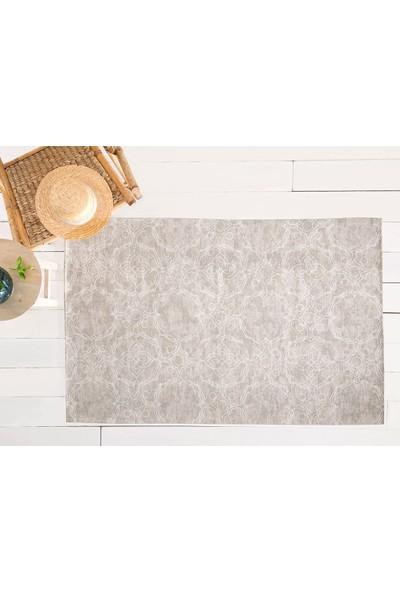 English Home Big Damask Pamuk Polyester Halı 80x150 Cm Açık Bej