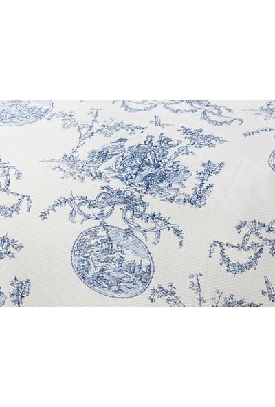 English Home Ancient Age Baskılı Çift Kişilik Pike Takımı 200x220 Cm Mavi