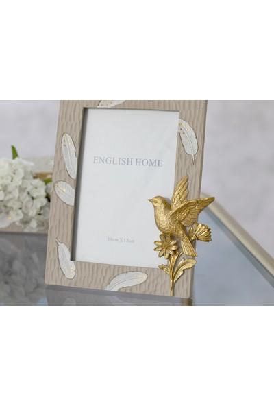 English Home Flower Bird Çerçeve 19x22x2 Cm Bej