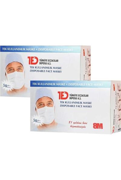Ted Tek Kullanımlık 3 Katlı Telli Cerrahi Maske 50 Adet - 2'li