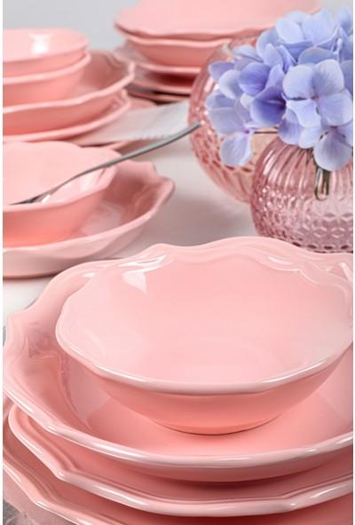 Keramika Romeo 24 Parça 6 Kişilik Yemek Takımı Açık Pembe