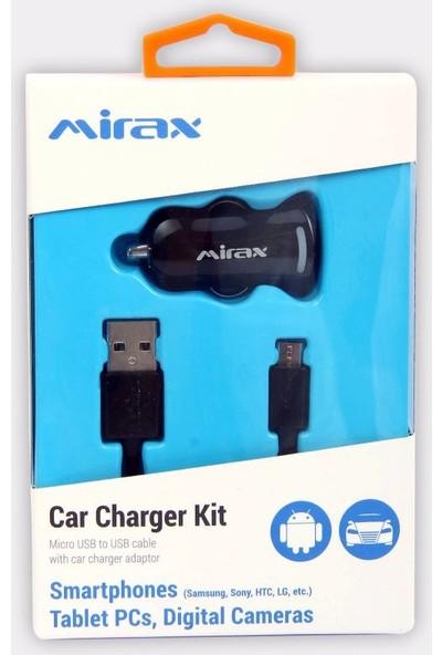 Mirax Micro USB Kablo + Araç Şarj Aparatı - Siyah