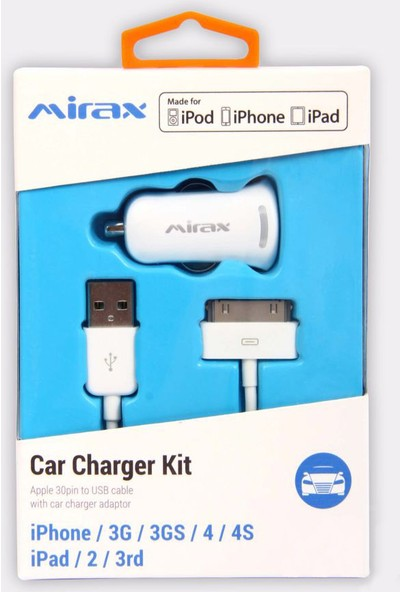 Mirax iPhone 4/4S Kablo+ Araç Şarj Aparatı - Beyaz