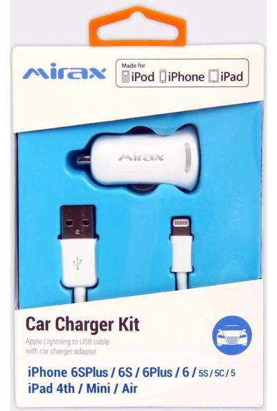Mirax iPhone XS/X/8/7/6/5/iPad Kablo +Araç Şarj Aparatı - Beyaz