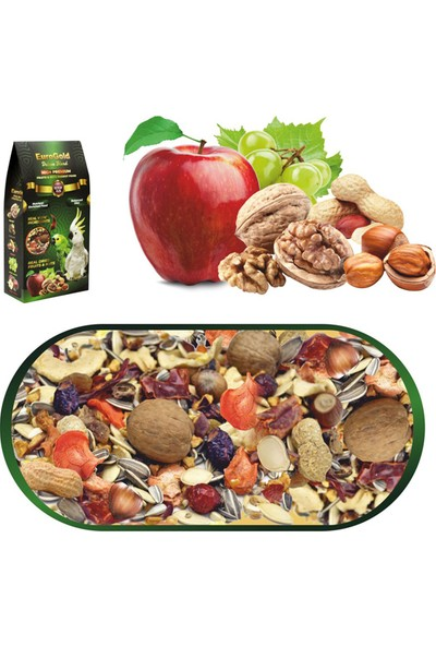 EuroGold Deluxe Blend Fruits&Nuts Meyveli ve Kuruyemişli Papağan Yemi 650 Gr