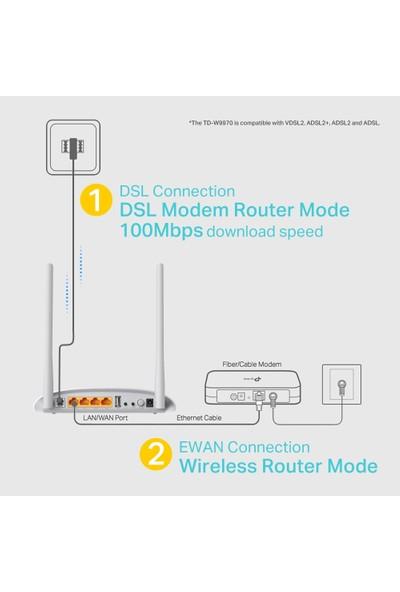 TP-LINK TD-W9970 300Mbps Fiber Modem/Router,EWAN, VPN, Ebeveyn Kontrolü, VDSL, ADSL2+, USB port