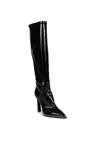 Sofia Baldi Antonio Siyah Rugan Fermuarlı Kadın Topuklu Çizme