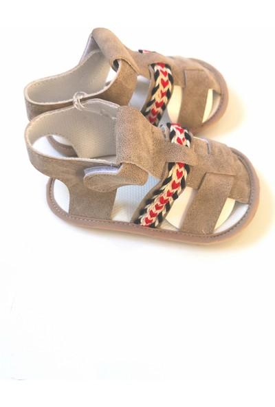 Funny Baby Bebek Sandalet Vizon Renk Süet İlk Adım Ayakkabısı