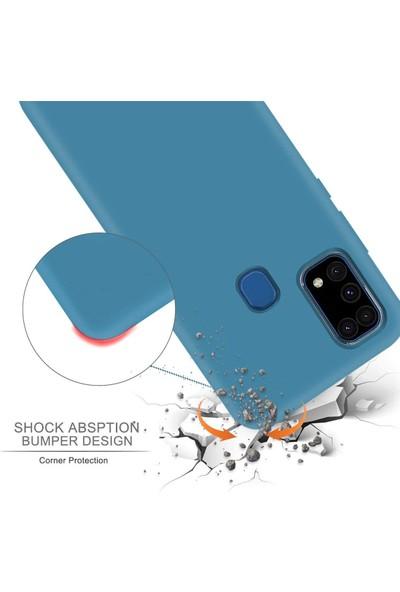 Case 4U Samsung Galaxy M31 Kılıf Mat Silikon Lüks Arka Kapak Premier + Cam Ekran Koruyucu Siyah