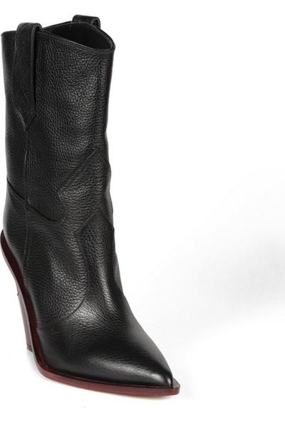 Sofia Baldi Gelsomıno Siyah Deri Kadın Topuklu Çizme
