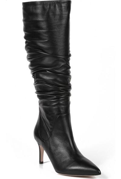 Sofia Baldi Irena Siyah Deri Kadın Topuklu Çizme