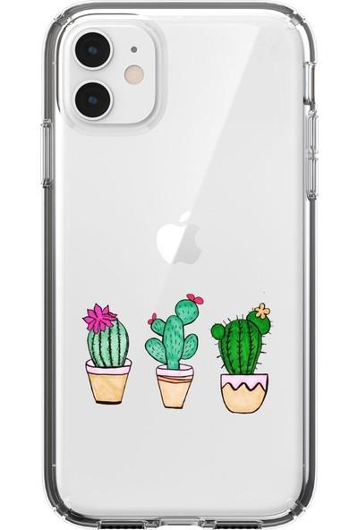 Moodcase Apple iPhone 11 Kaktüs Desenli Şeffaf Telefon Kılıfı