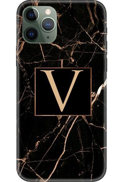 Moodcase Apple iPhone 11 Pro Siyah Mermer Desen V Harfli Telefon Kılıfı