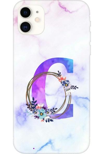 Moodcase Apple iPhone 11 Renkli Mermer Desen C Harfli Telefon Kılıfı
