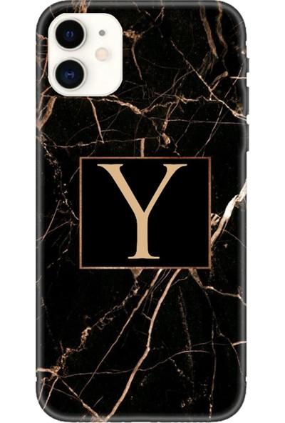 Moodcase Apple iPhone 11 Siyah Mermer Desen Y Harfli Telefon Kılıfı
