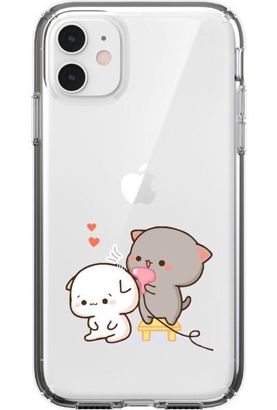 Moodcase Apple iPhone 11 Şirin Ayıcıklar Şeffaf Telefon Kılıfı