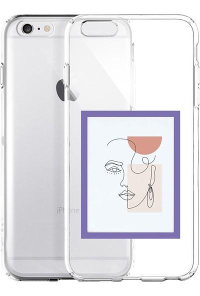Moodcase Apple iPhone 6 / 6s Line Art Window Şeffaf Telefon Kılıfı