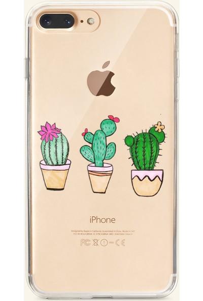Moodcase Apple iPhone 7 Plus Penguen ve Ayıcık Desenli Şeffaf Telefon Kılıfı