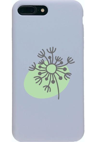 Moodcase Apple iPhone 7 Plus Premium Lansman Pastel Lila Telefon Kılıfı Botanik Ağaç Desenli