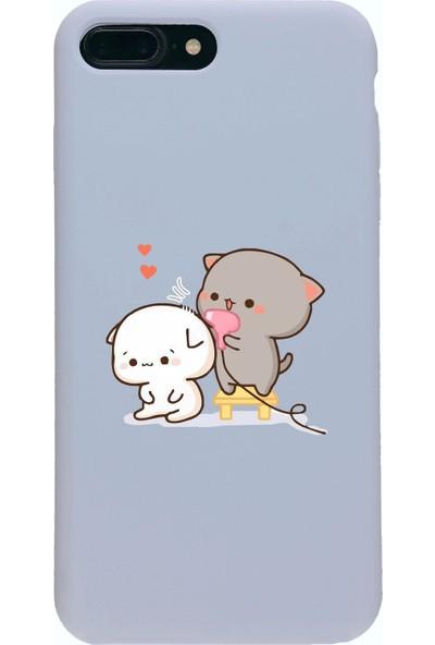 Moodcase Apple iPhone 7 Plus Premium Lansman Pastel Lila Telefon Kılıfı Şirin Ayıcıklar