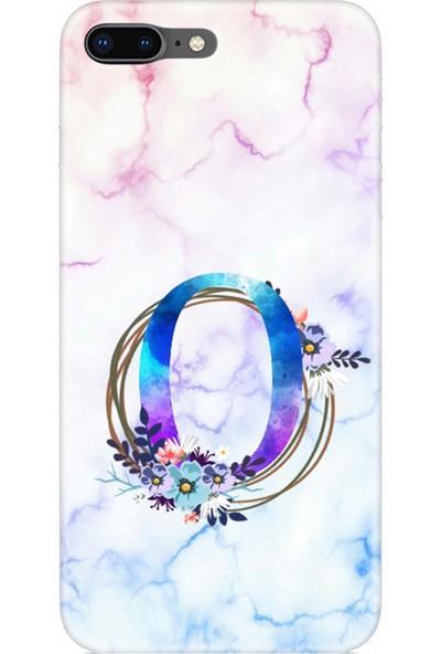 Moodcase Apple iPhone 7 Renkli Mermer Desen O Harfli Telefon Kılıfı